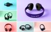 多彩青春头戴式耳机样机素材模板Headphones Mockup