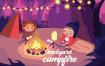户外活动场景插画素材下载Backyard Campfire – Vector Illustration