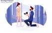 求婚场景创意插画素材下载Marriage Proposal Vector Illustration