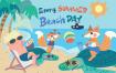 夏日海滩日场景插画设计方案Beach Day – Vector Illustration