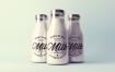 玻璃瓶牛奶样机素材模板展示素材Realistic Milk Bottle Mock Up Pack
