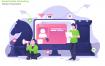 社交媒体营销数据场景插画素材下载Social Media Marketing Vector Illustration