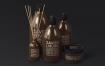 棕色天然化妆品包装瓶实物模型样机Natural Cosmetic Packaging Mock Ups Vol3