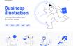 线性插画工作现场图手机和网页插图包模版素材Work scene illustration Pack