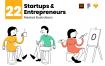 初创企业和企业家矢量场景插图素材