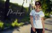 女性T恤样机文艺素材模版下载5FVTMF8