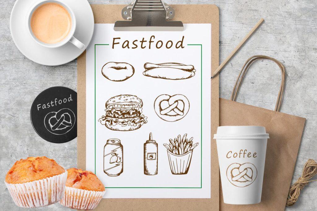 手绘矢量快餐在复古风格美食手绘Vintage Hand Drawn Fast Food插图