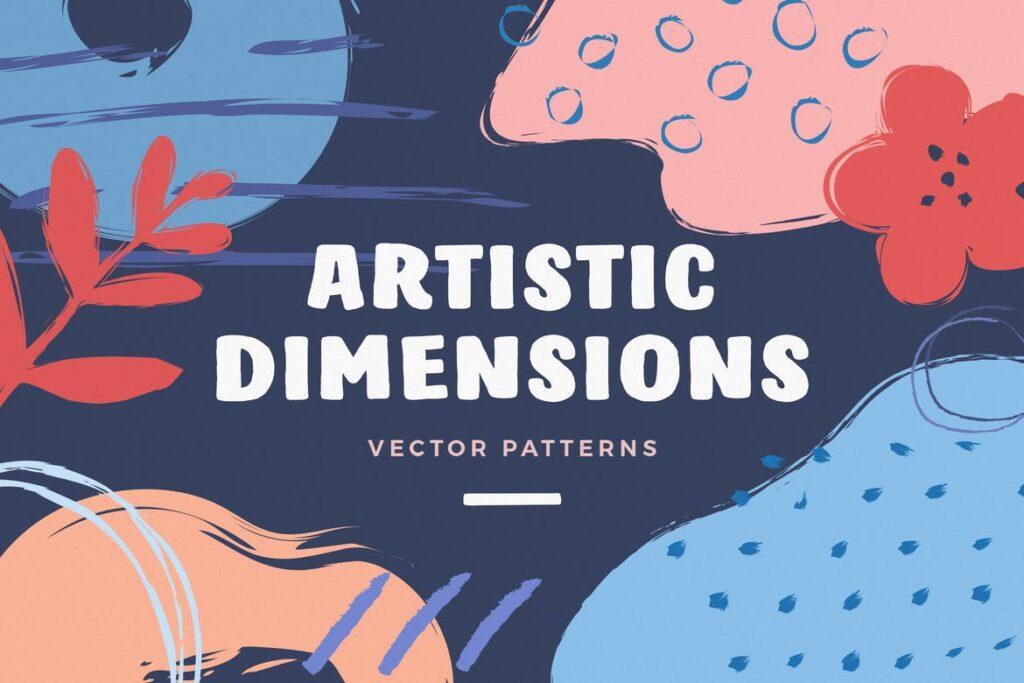 艺术笔触抽象元素装饰图案Artistic Dimension Abstract Patterns插图