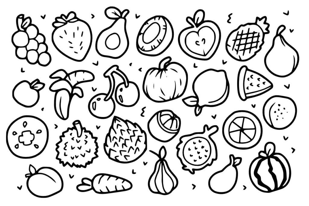 25个奇异水果涂鸦剪贴画水果类装饰图案25 Exotic Fruit Doodles插图(1)
