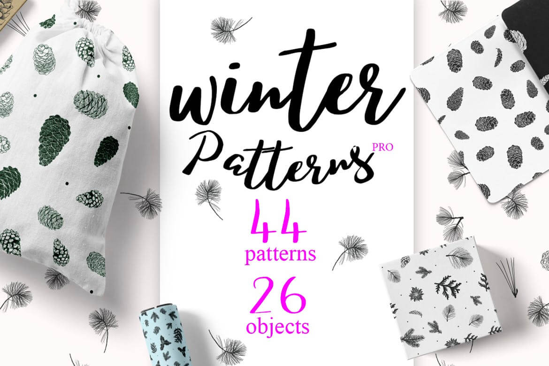 松树/刺柏/落叶创意图案装饰模板下载44 Winter patterns set插图