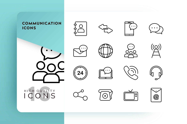 通讯通话系列相关线性图标源文件下载COMMUNICATION OUTLINE插图