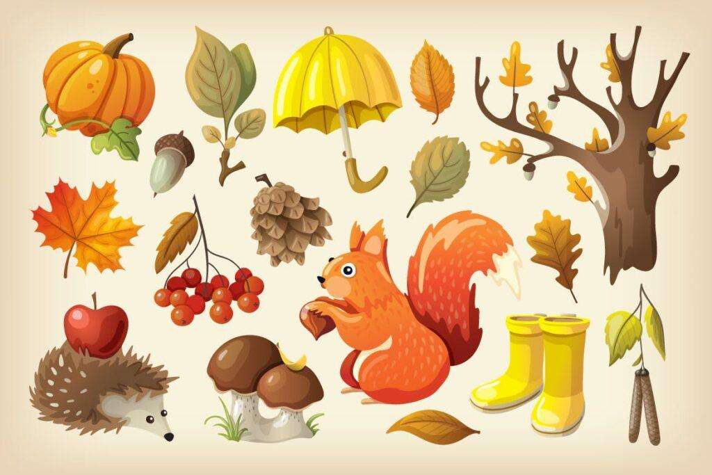 秋天的公园主题系列装饰图案Cozy Colorful Autumn Set插图