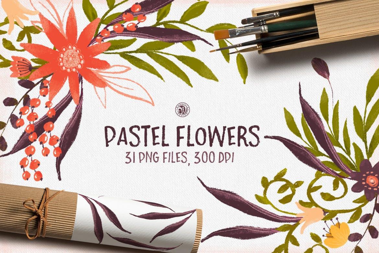 粉彩花卉花卉手工剪纸与金色涂料装饰图案Pastel Flowers插图