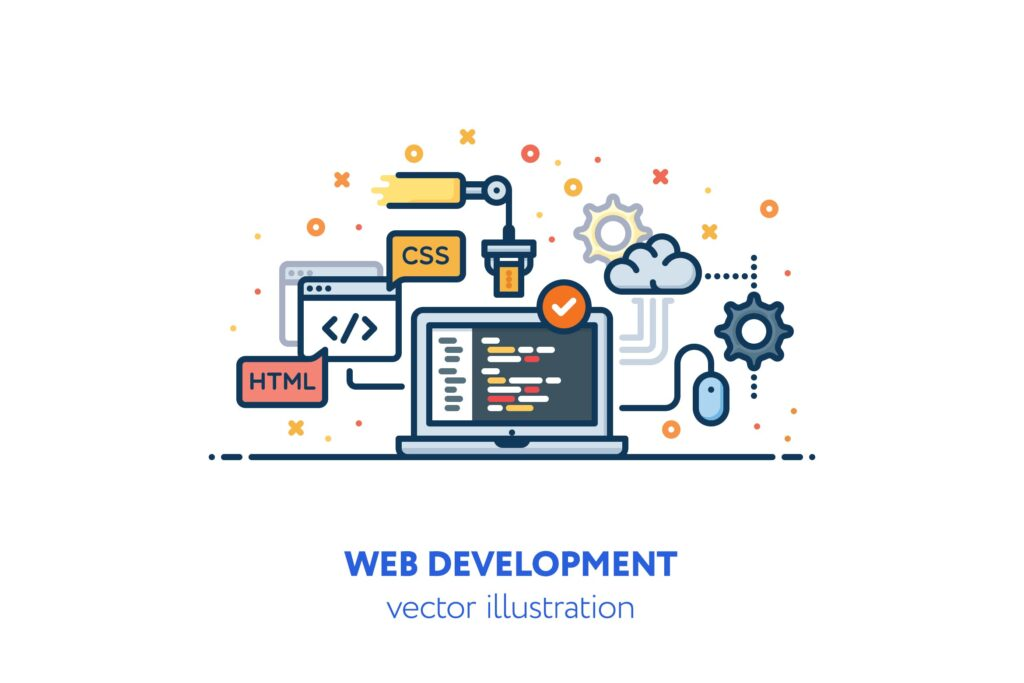 描边风数据传输场景插画Web development illustration插图