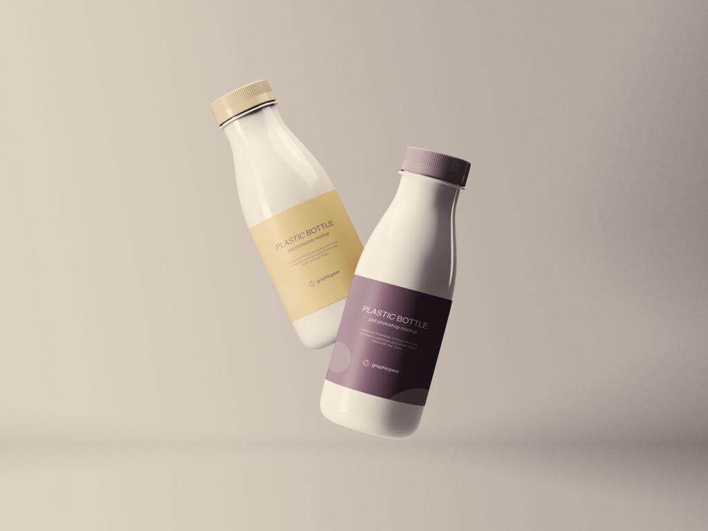 精致牛奶瓶装样机素材下载Floating Plastic Bottles Mockup插图