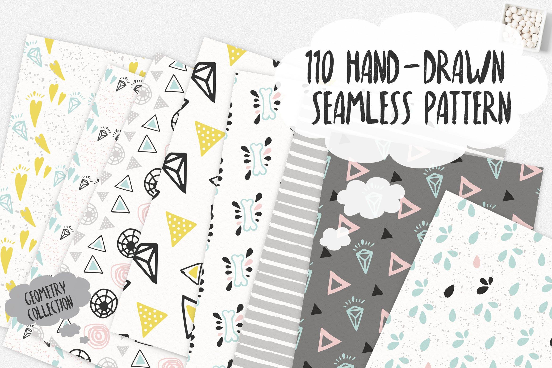 几何涂鸦花纹装饰图案素材110 Hand Drawn Seamless Patterns插图
