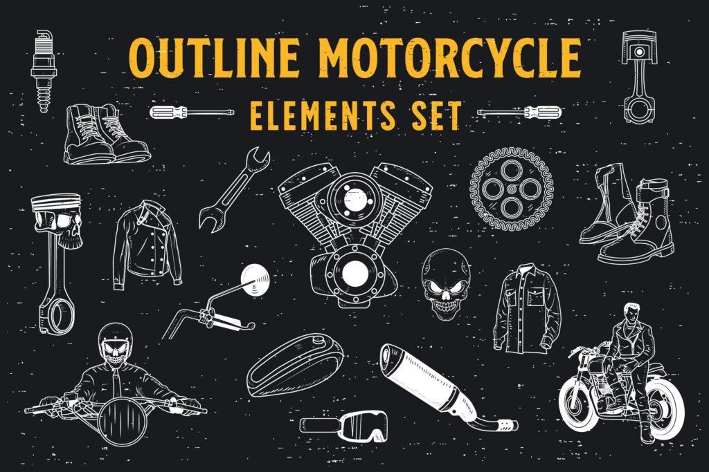 黑白风摩托车主题手绘装饰图案18 Outline Motorcycle Elements插图