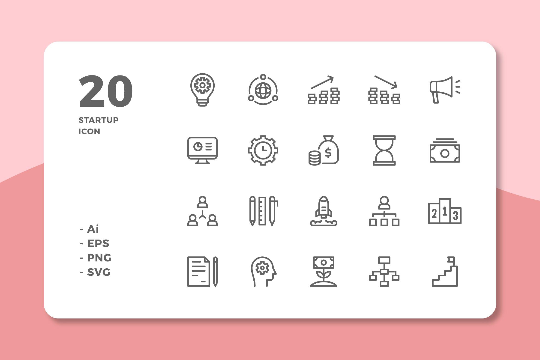 20个合同数据展示类图标源文件下载20 Startup Icons (Line)插图