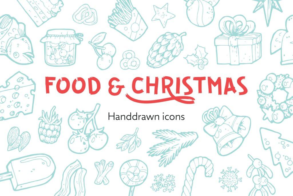 食物和圣诞手绘主题元素装饰图案212 Food and Christmas Handdrawn插图