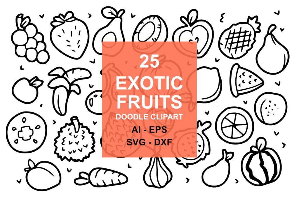 25个奇异水果涂鸦剪贴画水果类装饰图案25 Exotic Fruit Doodles插图