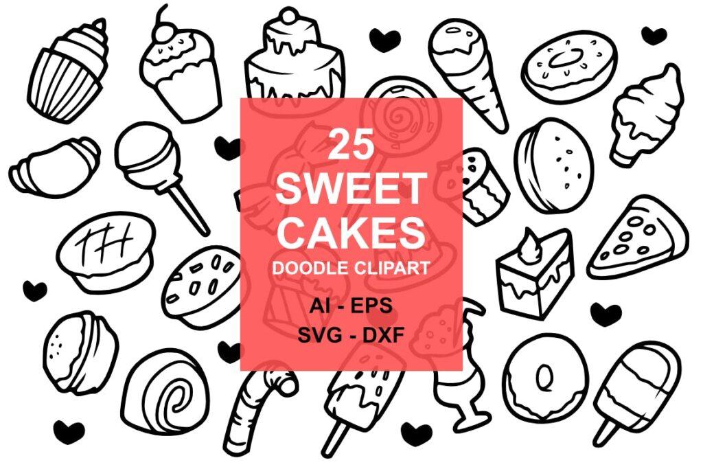 25个甜蜜蛋糕涂鸦剪贴画食品美食线性图标25 Sweet Cake Doodles插图