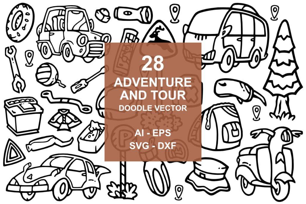 28个冒险和旅游涂鸦矢量图标装饰28 Adventure doodles插图