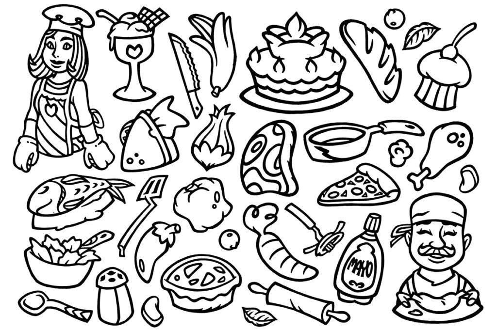30个烹饪涂鸦剪贴画餐饮料理线性图标下载30 Cooking Doodles Clipart插图(1)