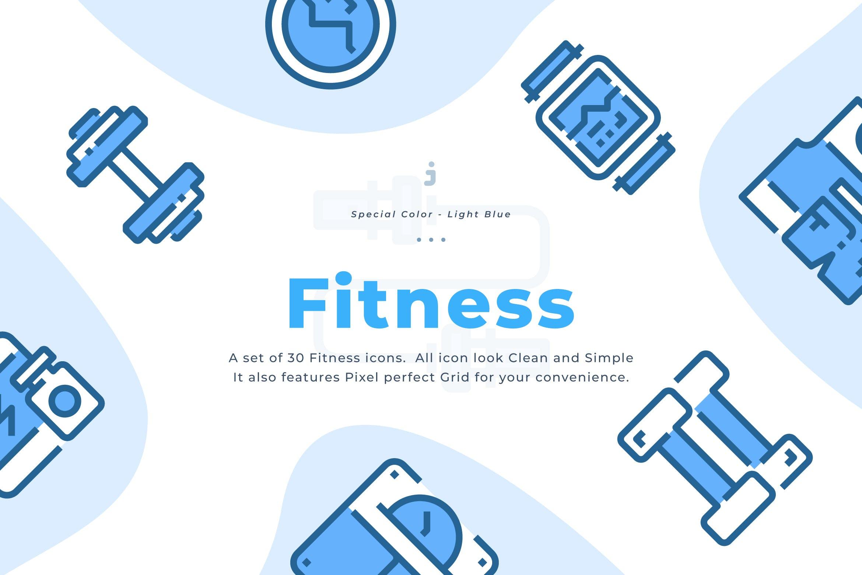 30个淡蓝色健身描边风图标源文件下载30 Fitness Icons Light Blue插图