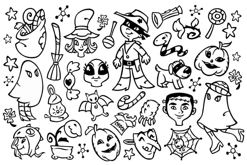 30个万圣节涂鸦剪贴画装饰元素30 Halloween Doodle Clipart插图(1)