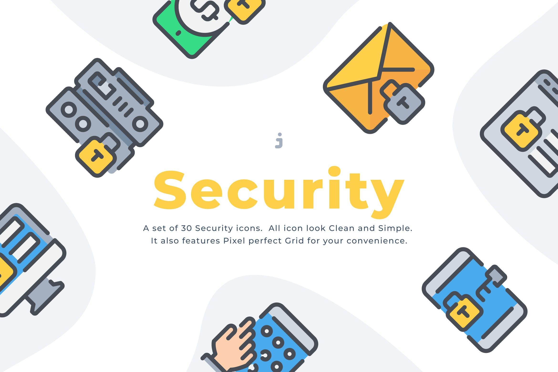 30个安全系列图标描边风元源文件下载30 Security icon set插图