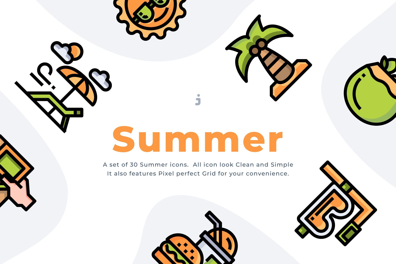 30个夏季时间图标描边风源文件下载30 Summer Time Icon Set Pzwx2nh插图