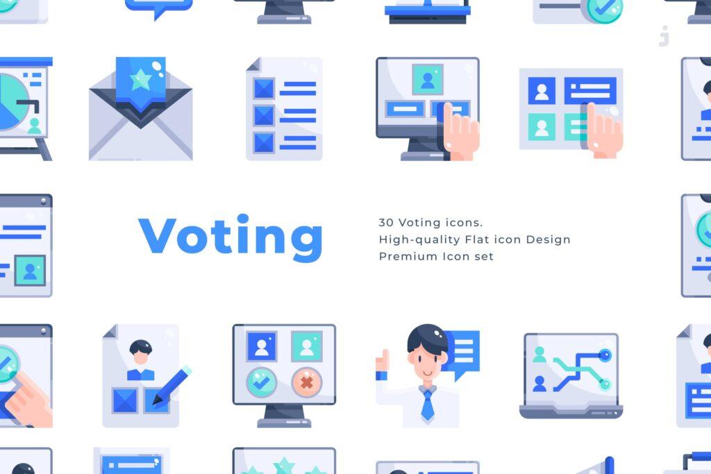 3个商务类数据传输相关扁平化图标素材30 Voting Icons Flat插图