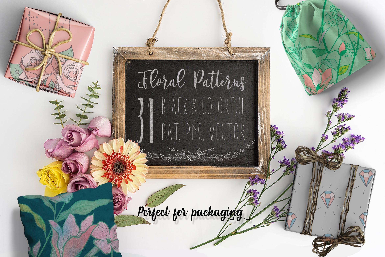 绿色植物与草药轮廓矢量图案31 Floral Patterns Pack插图