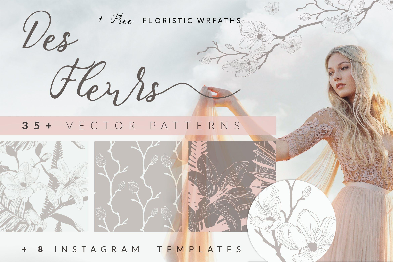 35个植物矢量图案装饰展示效果35 Patterns 8 Instagram Templates插图