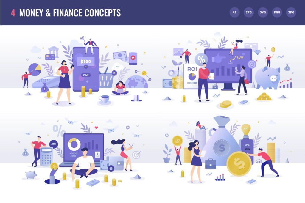 金融货币扁平风场景创意插图4 Money Finance Flat Illustration Concepts插图