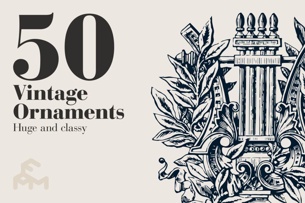 50件复古饰品黑背手绘稿插图50 Vintage Ornaments插图