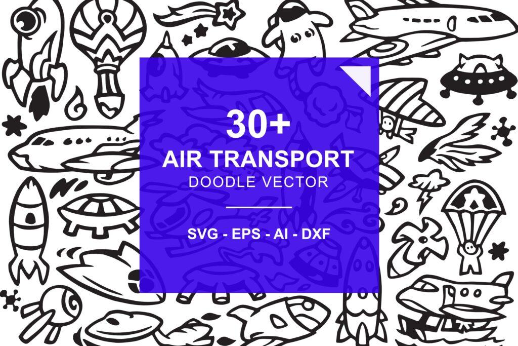 30个航空运输涂鸦插画矢量装饰图案花纹Air Transportation Doodles插图