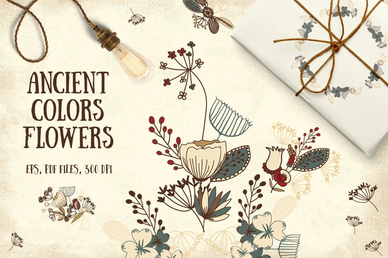 古代色彩花朵纹理素材Ancient Colors Flowers插图