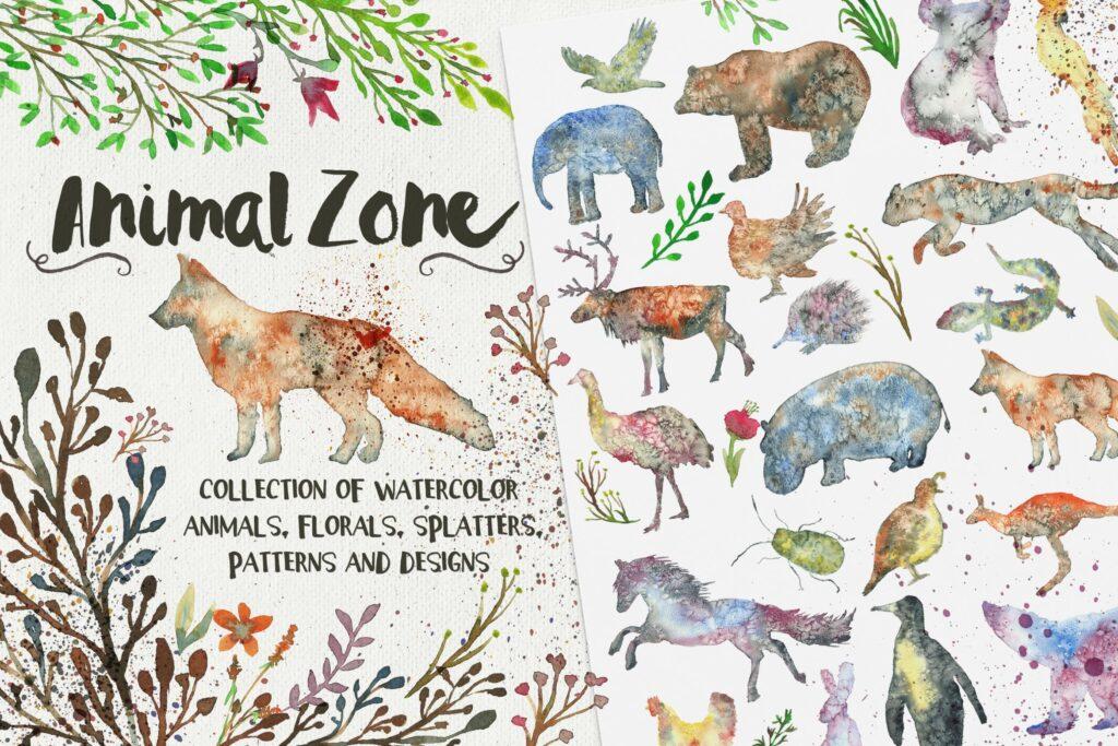 45个水彩画动物剪影的合集Animal Zone插图