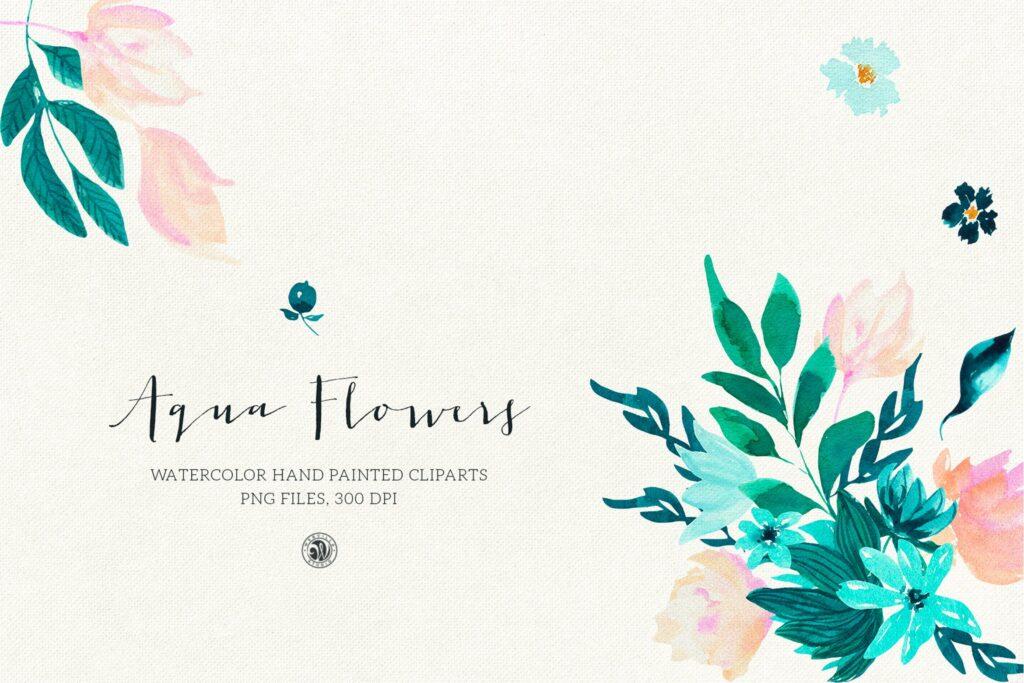 蓝色水彩花卉创意图案设计Blue floral design插图(1)