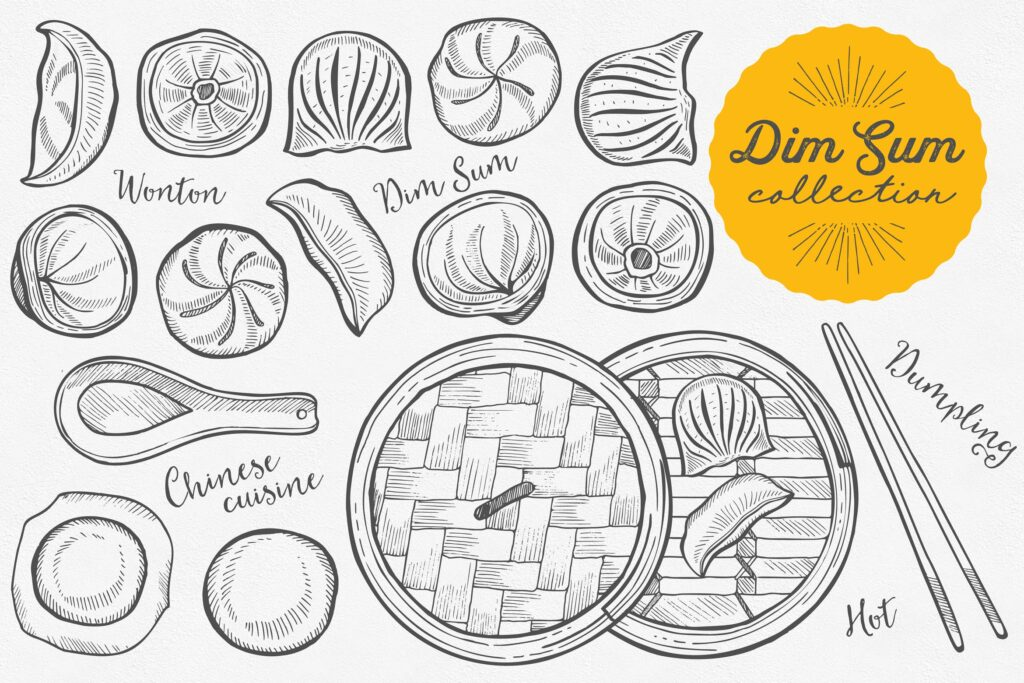 亚洲美食主题元素涂鸦装饰图案下载Asian Food Dim Sum Illustrations插图