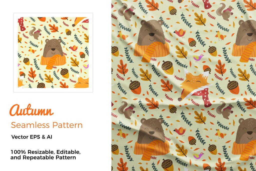 秋季矢量绘画元素可爱熊装饰元素花纹布艺纹理装饰图案Autumn Pattern插图