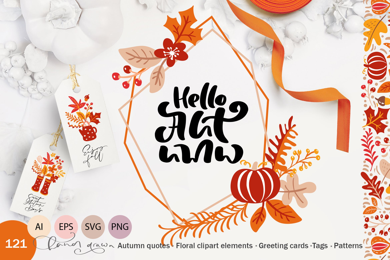 矢量书法和花卉元素图案花纹素材Autumn vector calligraphy floral elements插图