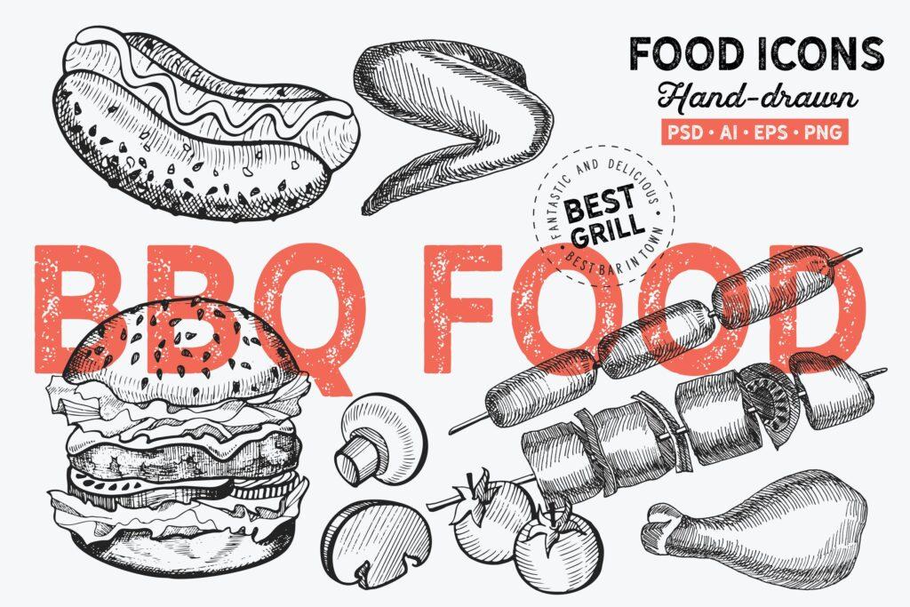 烧烤食品手绘元素汉堡BBQ Food Hand Drawn Graphic插图