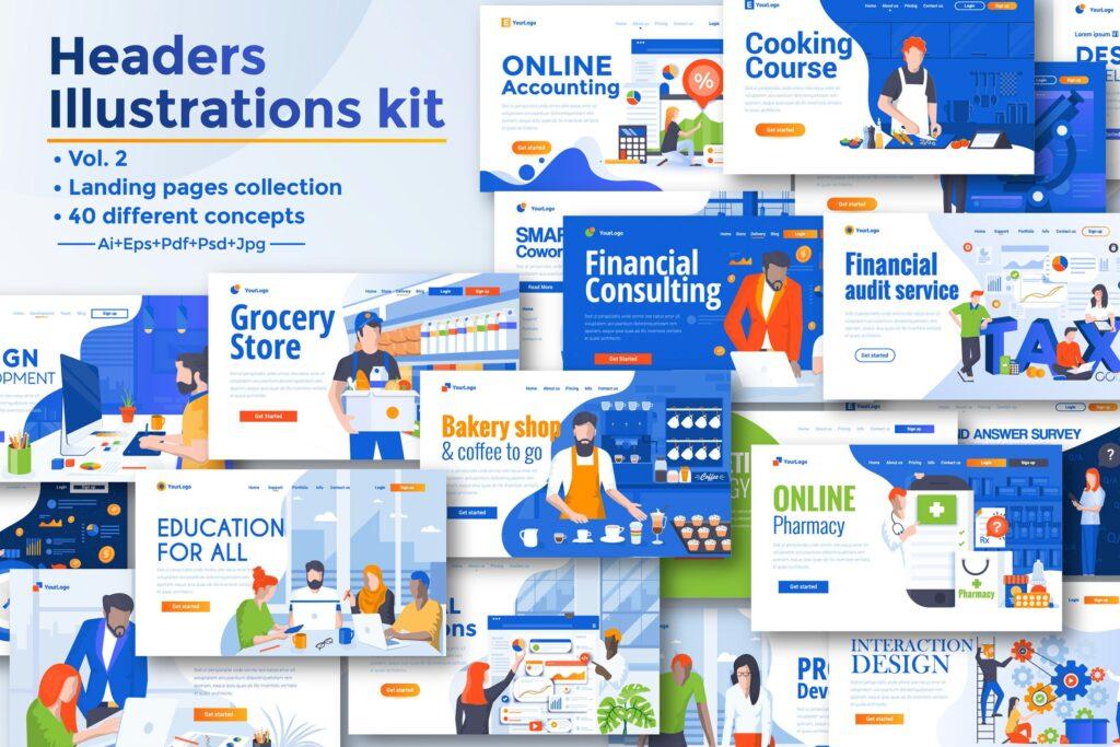 各种主题的大量登陆页面插图模板BIG Collection of Landing page templates插图