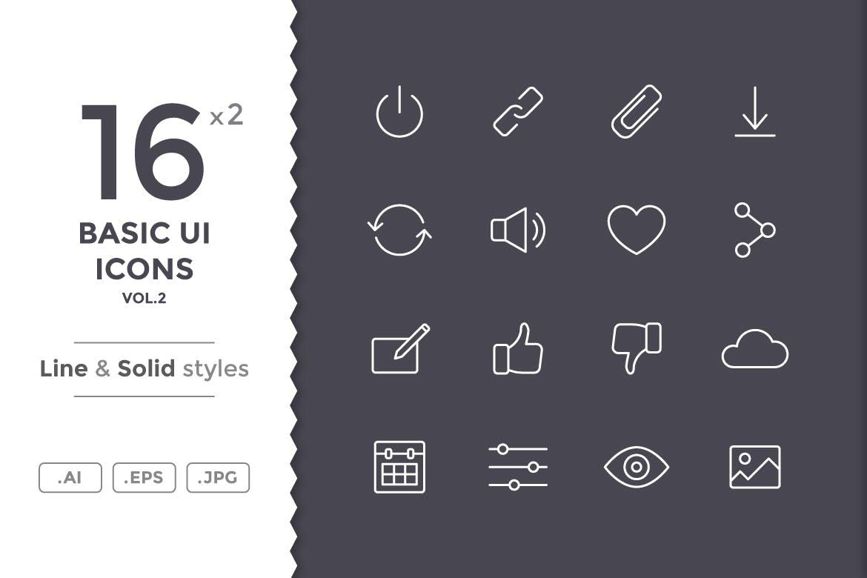 系统基础图标合集线性图标下载Basic UI Icons (vol.2)插图