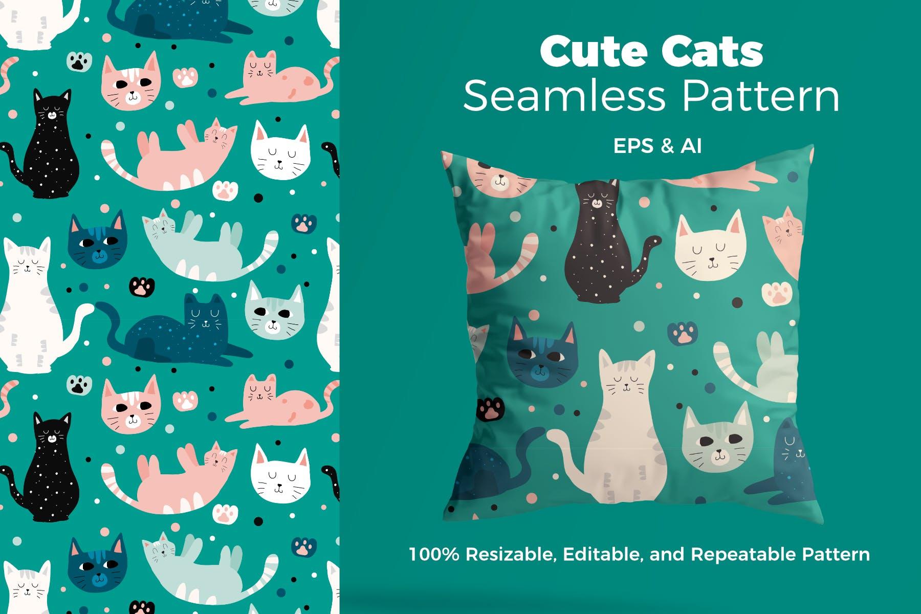 漂亮的创意猫图案素材花纹抱枕装饰图案Beautful Cat Pattern插图