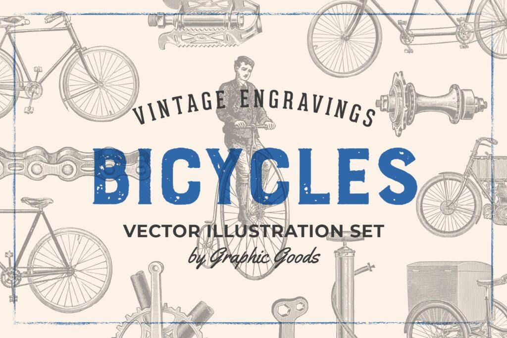 自行车和自行车配件的经典插图合Bicycles Vintage Illustration Set插图