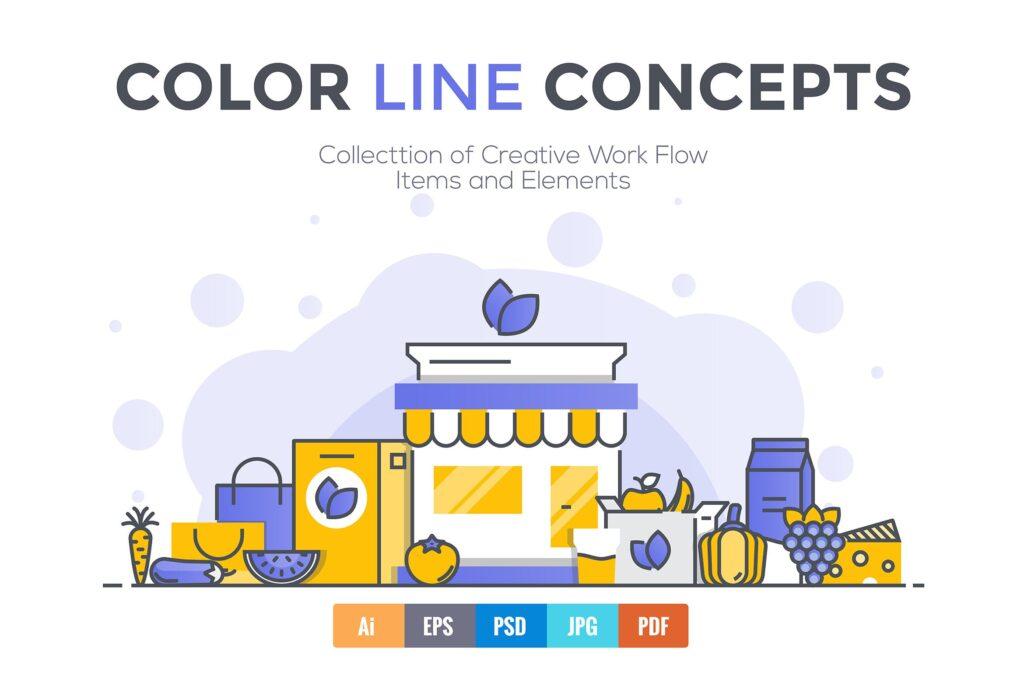 45个彩色描边风创意场景插图Big collection of Flat Line Color Concepts插图