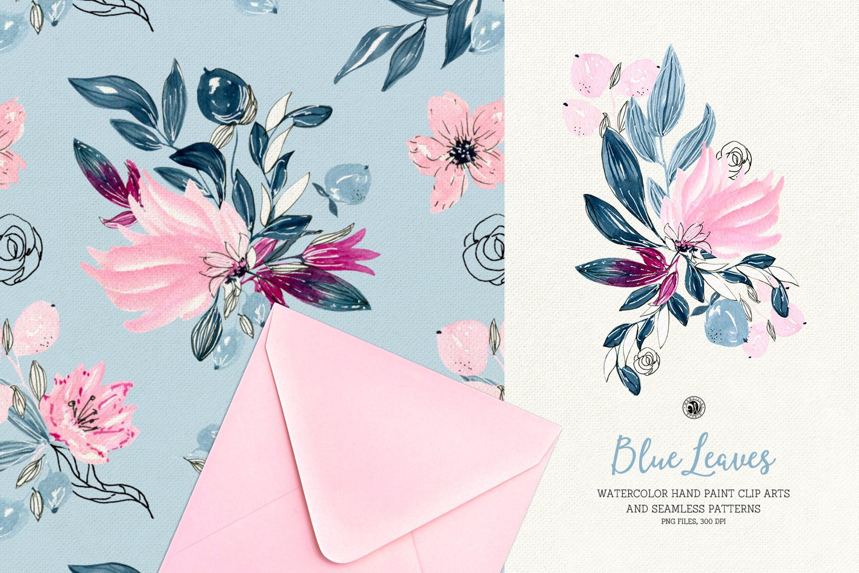 精致优雅水彩花卉图案纹理素材Blue Leaves插图